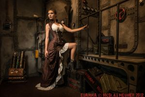 Underbust corset steampunk dress 2012 collection by Esaikha