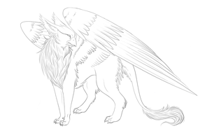 Griffin Lineart by Keitana