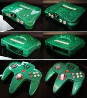 custom Zelda Nintendo 64 green flake finish by Zoki64