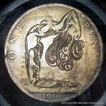 Ornate Nude Hand Engraved 1900 Penny Hobo Nickel by shaun750