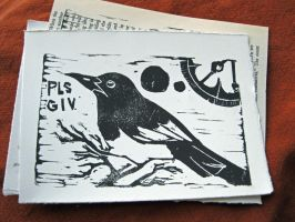 Pls Giv Magpie Print on White by tencrowns-studio