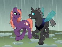 MLP - Cotton 'n Greg in the rain by merrypaws
