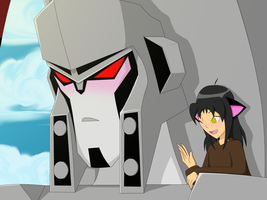 Megatron with Annoying Me by BlackCatWhiteStar
