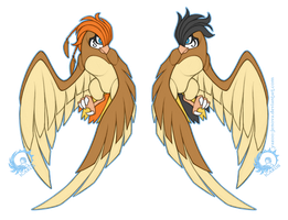 Calais and Zetes - Pidgeotto Twins by Icarus-Skollsun
