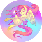 Fluttershy hugging a Haunter by Electrixocket