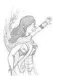 Unnamed lady archer (Lineart) by Getthegrooveon