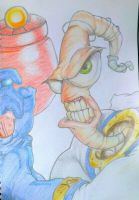 Earthworm Jim In Coloured Pencils by butlerart