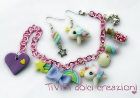 Rainbow Pegasus Bracelet and Earrings by tivibi