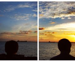 watching the sunset by iyodeh