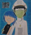 Murdoc and Cyborg Noodle (Plastic Beach) by Poppi10lg