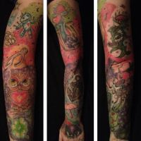 Good and Bad Luck Sleeve Tattoo by piercedpinup