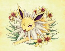 Seasons of Eevee - Jolteon and Daffodils by juugatsuhoshi
