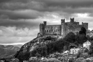 Harlech Castle in Mono by CharmingPhotography