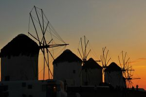Windmill sunset 2 - Mykonos by wildplaces