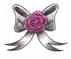 tiny bow + rose tattoo by expedient-demise