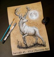 Inktober 2016 (Ink and Coffee) #5 - The White Stag by Kamakru