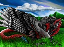 sleeping gryphon by atrafeathers