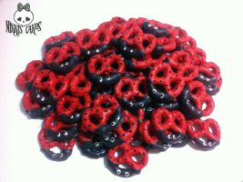 Mini Ladybug Chocolate Covered Pretzels by Corpse-Queen