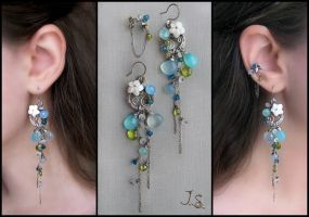 Blue lagoon earrings and ear cuff by JuliaKotreJewelry