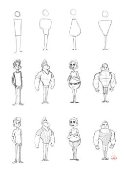 Character Shape Sketching 1 (with video link) by LuigiL
