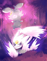 [Day 29] Mega Gengar and Espurr by PinkGermy