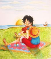 Luffy eating by Grimmjou
