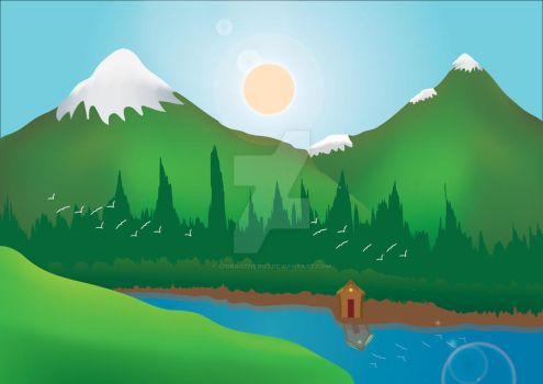 Vector Landscape scene by ChiragtheOO7