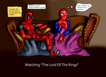 Deadpool and that spiderguy watching LOTR by Kuenstlername