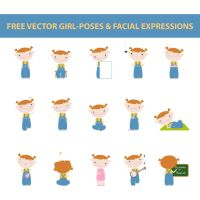 free vector girl poses and facial expressions by harridan