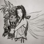 Aerith and Cloud charcoal by DevilWillPay10