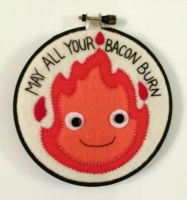 Calcifer Embroidery Hoop by me-tal