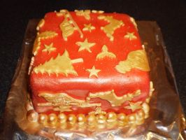 Christmas Cake Red and Gold by ElvishBadgerQueen