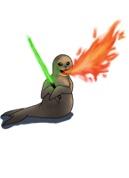 firebreathing seal with laser sword by Szirka