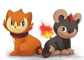 fire lion cubs by Aminako