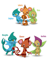 Fakemon starters for contest by BlackySpyro