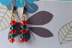 Red and Turquoise Crystal Earrings by Clerdy