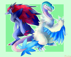 Zoroark and Archeops by ArtVing