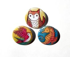 owl, swallow, seahorse buttons by michellescribbles