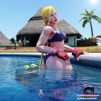 Cammy swimsuit at pool 3d render pose by Olibuz