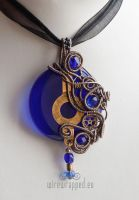 Cobalt blue steampunk round pendant by ukapala