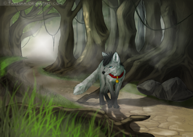 Fox in the woods by Rizuuki
