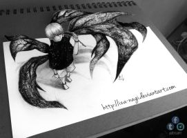 Kaneki Ken - 3D DRAWING ON PAPER by Iza-nagi