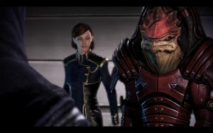 ME3 Jill Shepard and Wrex by chicksaw2002