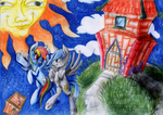 Rainbow dash with Siwy Oc in the space by fajnyziomal