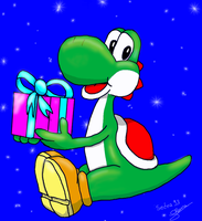 Yoshi gives a gift by Sedna93