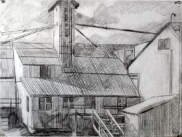 Farmhouse Landscape Drawing by XavierDiemert