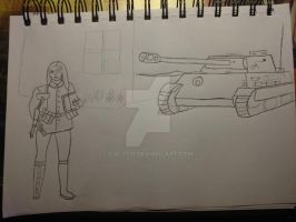 Claudia and her Panther tank by COLT731