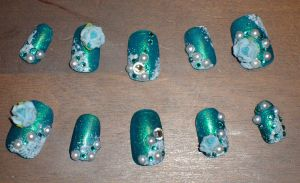 Aqua Nails Blue Roses by Kit-Kat-Choco