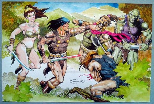 Conan and Belit the lady warrior- 12 x 18 by karlcomendador