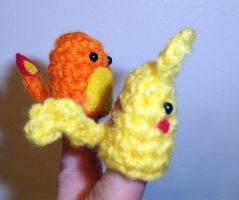 Pikachu and Charmander Finger Puppets - side view by happysquidmuffin